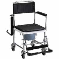 Drop Arm Commode Transport Chair with Wheels